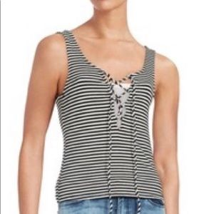 Vintage Havana Striped Lace-Up Tank Top, Small